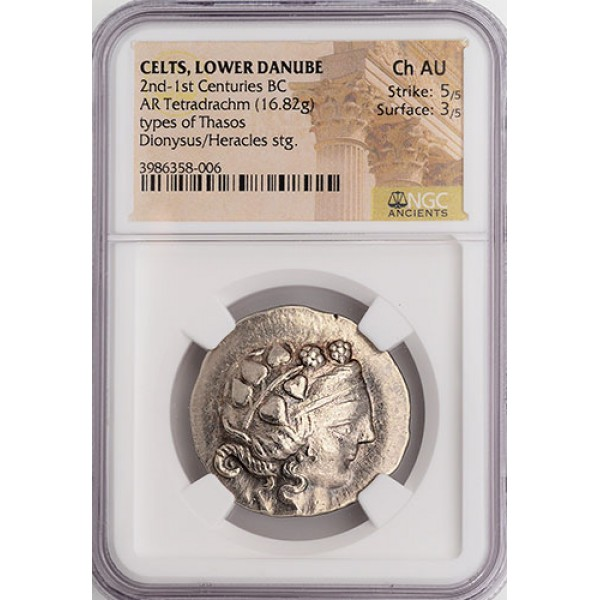 Outstanding NGC Ch. AU Ancient Greek (Celts) Silver Tetradrachm Dionysus, God of Wine circa 2nd-1st Century B.C.